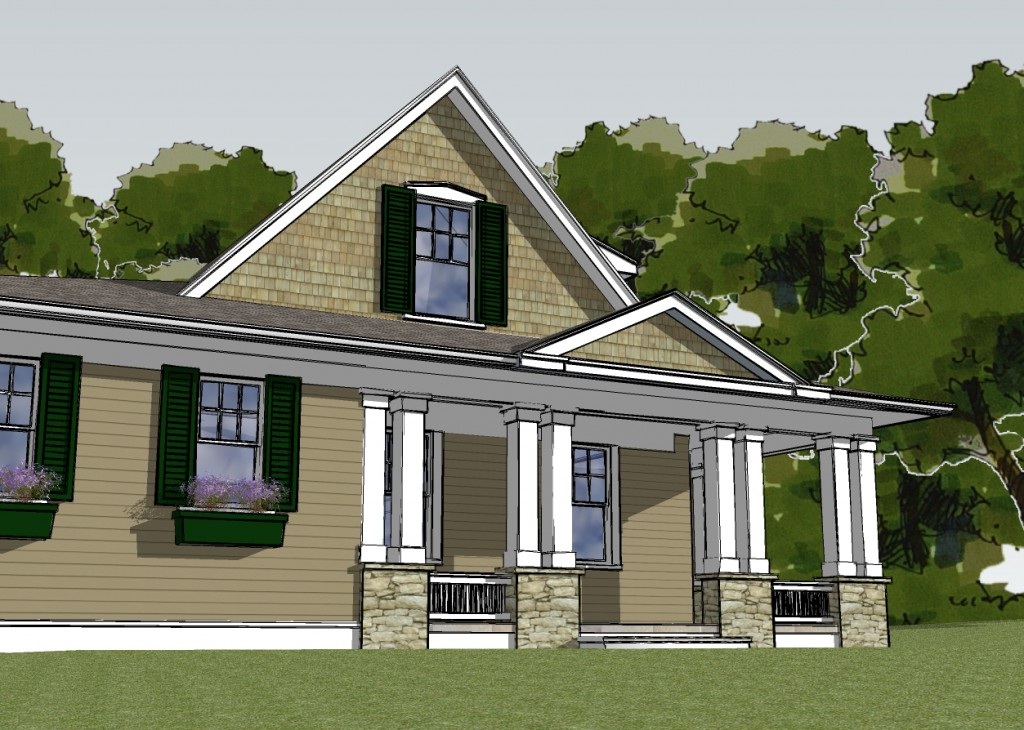 rendering of custom built passive house by abrams design build in maryland