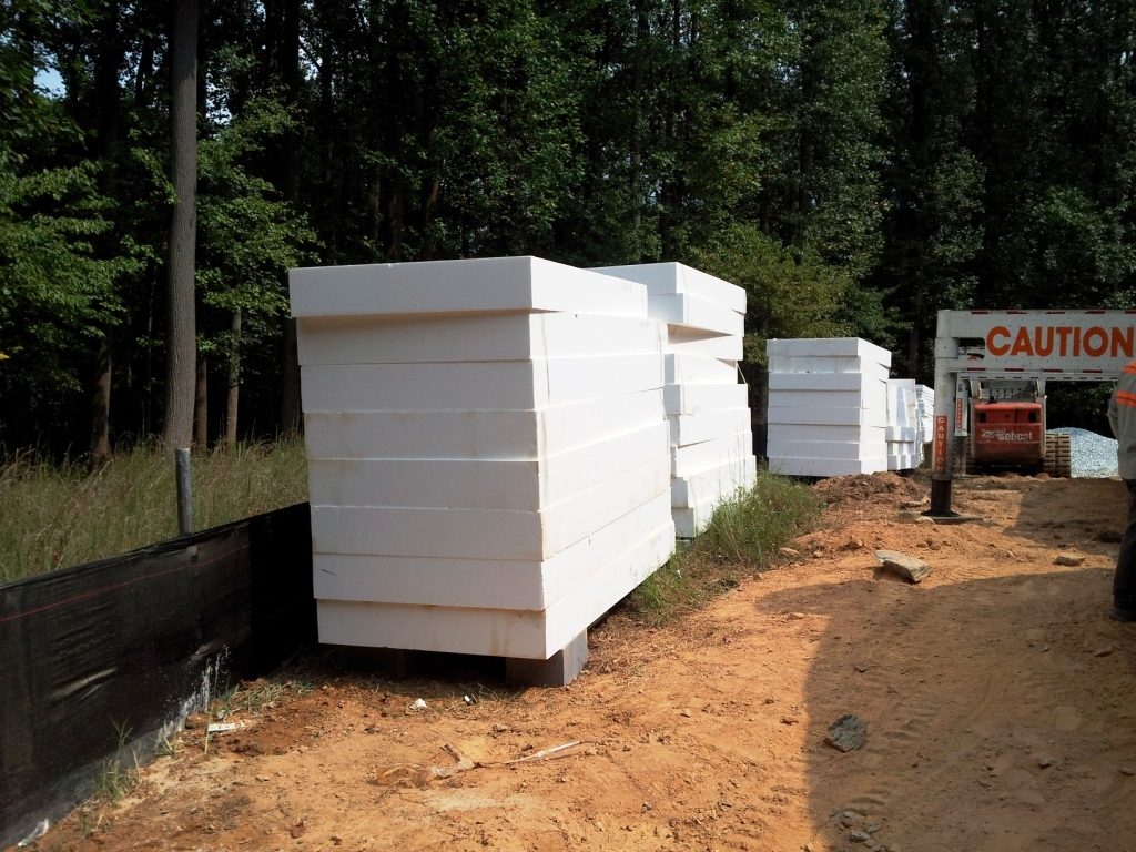 9 inch foam panels insulate foundation slab of Passive House