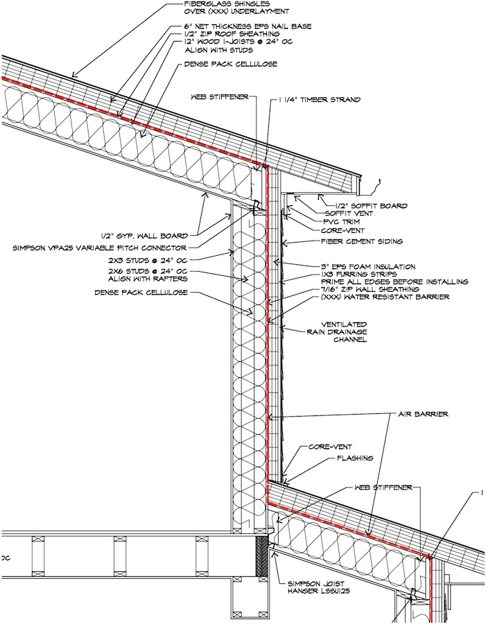 section of Passive House shows structural insulation technique