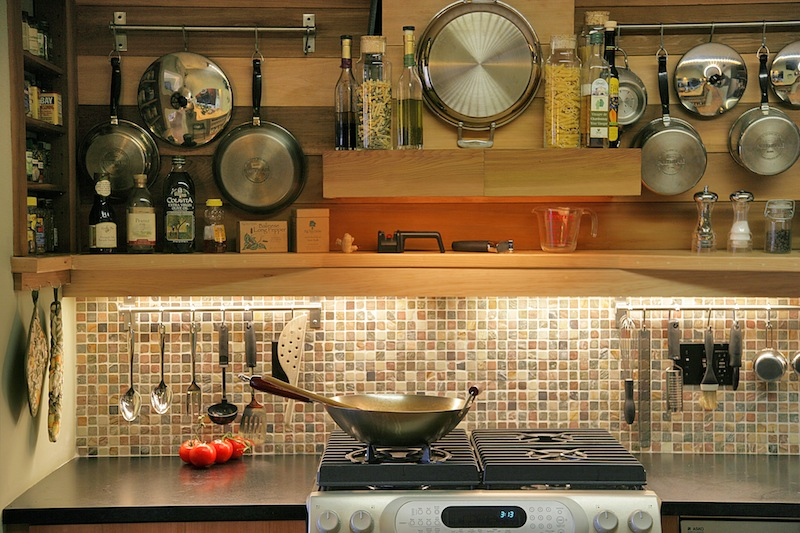 recycled glass tile back splash in green kitchen