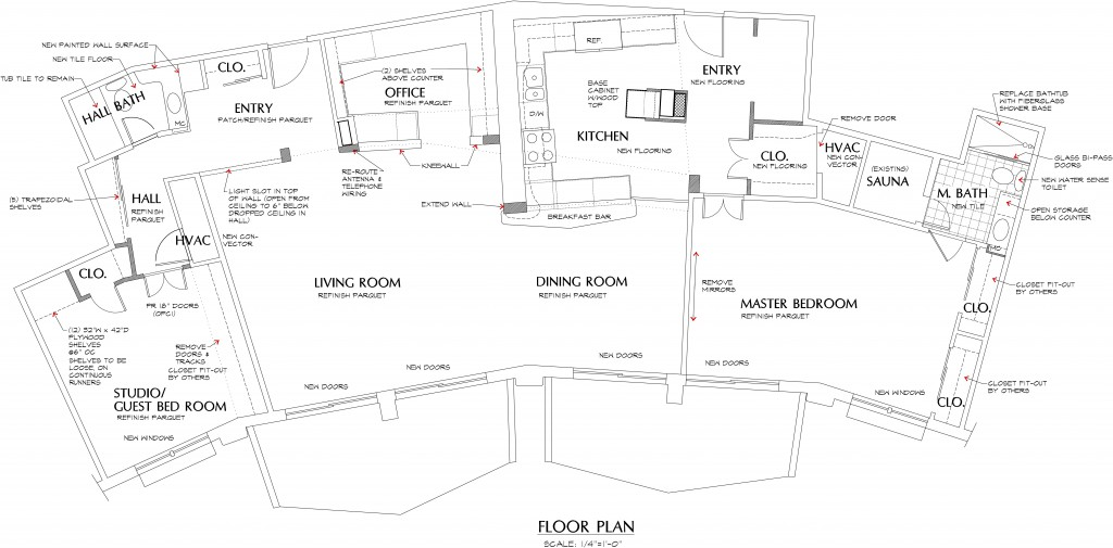 condo floor plan after green remodeling
